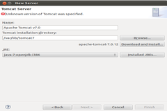 Tomcat and Eclipse Integration Error : Unknown version of Tomcat was specified