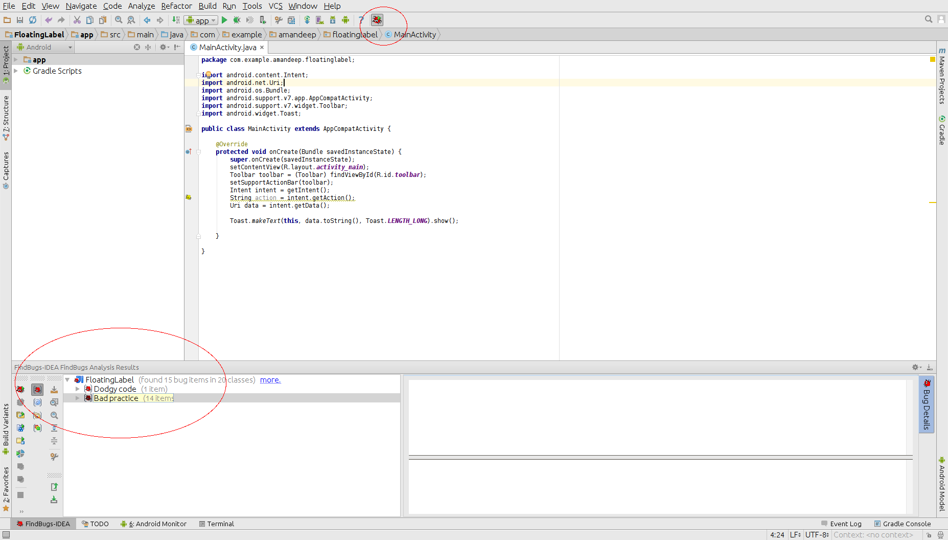 Code Analysis using FindBugs Plugin in Android Studio
