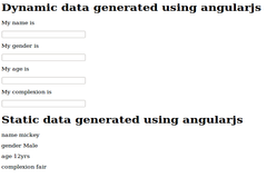Dynamic and static data generated using angularjs