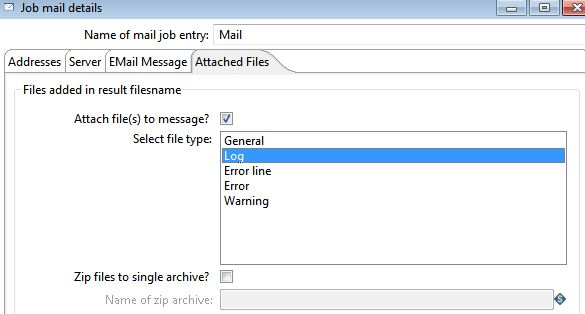how to attach transformation log in mail using pentaho kettle