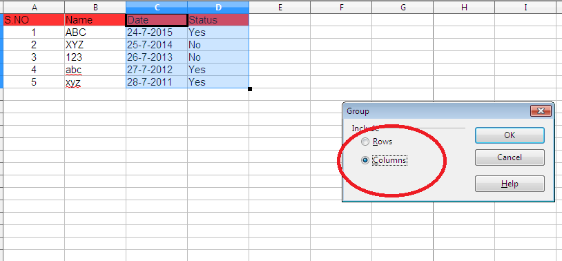 Grouping columns and rows in Excel and Open Office Calc