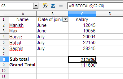 How to use Sub Total Function in MS Excel and Open Office Calc
