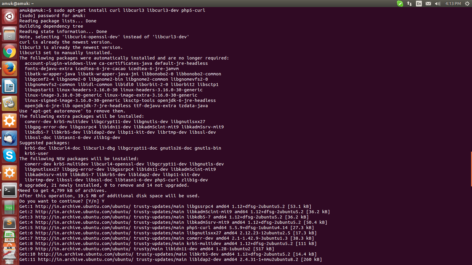 CURL: How to install curl on ubuntu 14 04