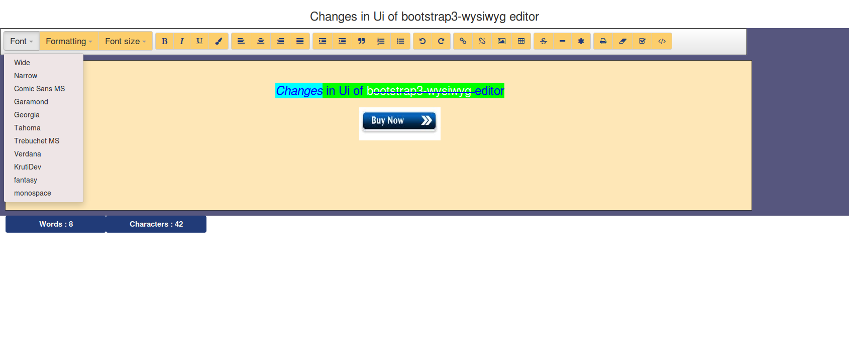 How can i change ui and attributes of bootstrap3-wysiwyg editor