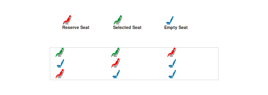 Custom checkbox bus seat ui, 3type checkbox reserved Seat, Select