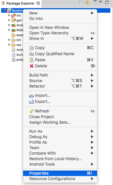 Import Android Facebook SDK4 in eclipse