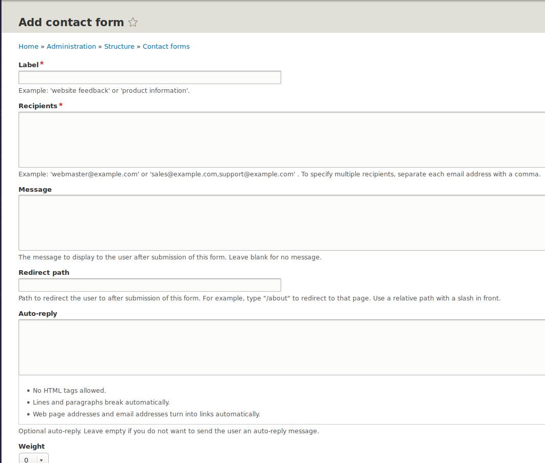 How to make custom contact form in drupal 8
